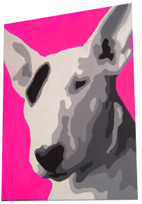English Bull Terrier Pop Art Painting Pink