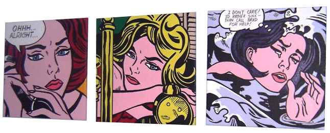 XL Lichtenstein 3 Girls Paintings